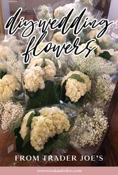 How to DIY Wedding Flowers from Trader Joe's - DIY Wedding Bouquet Tutorial Diy Wedding Bouquet, Diy Wedding Flowers, Bridesmaid Bouquet, Diy Flowers, Floral Wedding, Wedding Bells, Wedding Reception, White Hydrangea Centerpieces, Affordable Wedding Flowers