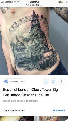 Big Ben Tattoo, London Clock Tower, Paris Tattoo, Sides For Ribs, Beautiful London, Tattoos For Guys, Tattoos For Men
