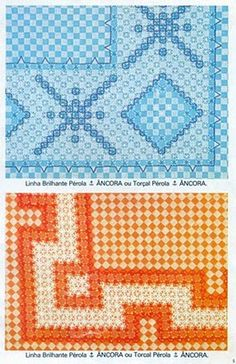 tendtudoartesanato: Gráficos Bordado Tecido Xadrez Swedish Embroidery, Types Of Embroidery, Embroidery Patterns, Chicken Scratch Patterns, Chicken Scratch Embroidery, Cross Stitching, Cross Stitch Embroidery, Hand Embroidery, Bordado Tipo Chicken Scratch