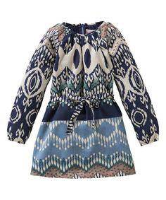 Loving this Blue & Ivory Tie-Waist Daisies Dress - Girls on #zulily! #zulilyfinds