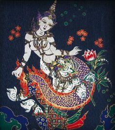 mermaidescapades:    literary art on silk screen: Thai Mermaid and Hanuman