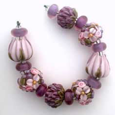 BLISS Amethyst Delight Mixed Floral Lampwork Beads Set with Tulips and Peonies