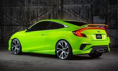 2016 Honda Civic Coupe Concept: The 2016 Honda Civic Coupe Concept had its world debut at the 2015 NY International Auto Show. The new Honda Civic Coupe Conce Honda Civic Type R, 2015 Honda Civic, New Honda, Maserati, Bugatti, Automobile, Vw Gol, Assurance Auto, Honda Cars