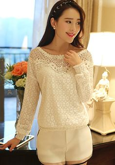White Floral Lace Hollow-out Short Sleeve Dress