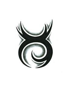 Shaded Tribal Taurus Tattoo Design