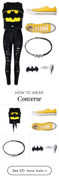 """Batman "" by alisoon02 on Polyvore featuring WithChic, Converse, Alex and Ani and DC Comics"