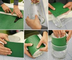 DIY lined vases. Make your centerpieces more exciting by lining your vases with paper that ties into your theme.