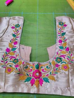 To buy, pls whatsapp on 9618821933 Simple Blouse Designs, Blouse Designs Silk, Designer Blouse Patterns, Kurta Designs, Embroidery Motifs, Hand Embroidery Designs, Maggam Work Designs, Hand Work Blouse, Hand Designs