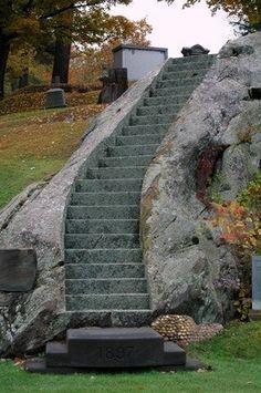 Beautiful hillside  Vermont cemetery with amazing funerary art