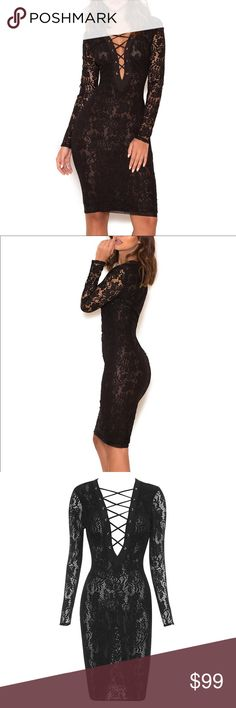 "House of CB • Anchali Sheer Lace Dress NWT House of CB 'ANCHALI"" black dress made of sheer lace - the fav of a lot of celebrities. Lace Up front. Long sleeves. **NOTE: the dress is completely sheer- no slip.*** Size XS (2-4) fabric1:42%polyamide, 33%viscose, 25%cotton. Fabric2:94%polyester, 6%elastane, LINING 70%polyamide/30%elastane. Retail $160. House of CB Dresses Midi"