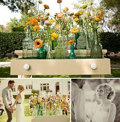 Glass bottles. Luna Bazaar decor.  www.atyourservicewedding.net  www.facebook.com/rocnrevmike