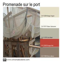 La touche de rouge apportera la note gourmande à cette palette de teintes naturelles inspirée des filets de pêcheurs. Intéressant pour une pièce à vivre.www.chromaticstore.com #déco #beige #rouge