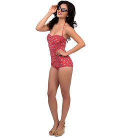 Vintage 1950s Style Pin Up Red Ruched Tiki Palm Sheath One Piece Swimsuit
