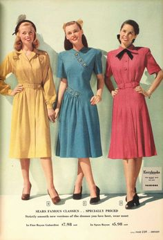 Sears, 1947 vintage fashion style color photo print ad models magazine 40s 50s era yellow blue pink red day dress shoes hair style
