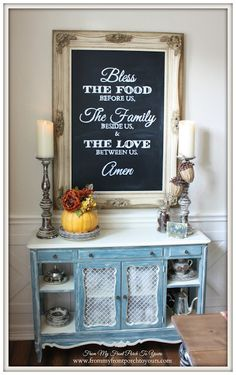 Thanksgiving Dining Room- French Farmhouse Style Farmhouse -Thanksgiving- Fall- Dining Room-From My Front Porch To Yours Always aspired to be able to knit, however not s. Diy Interior, Interior Design, Dining Room Hutch, Dining Area, Dining Rooms, Best Dining, Country Decor, Lettering, Fall Decor