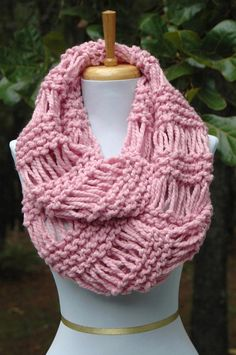 Items similar to Chunky Knit Navy Blue Button Scarf with Wood Buttons - Original Design on Etsy Chunky Scarves, Pink Scarves, Diy Crochet And Knitting, Lace Knitting, Circle Scarf, How To Purl Knit, Wool Scarf, Bleu Marine, Look Chic