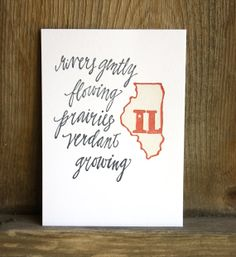 Illinois State Series  Letterpress Print by 1canoe2 on Etsy, $15.00. Love everything @Beth Snyder 1canoe2 makes!