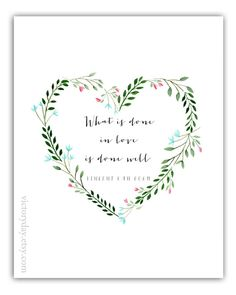 What Is Done In Love print of watercolor wreath by VictoryDay