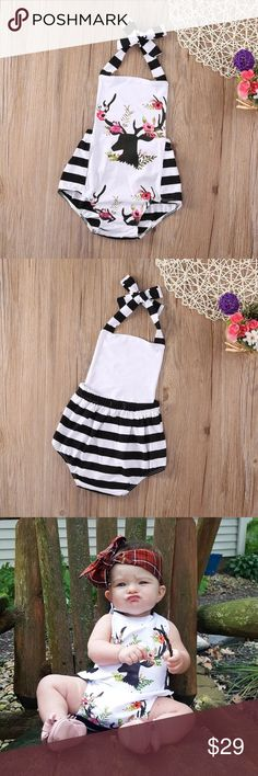 Floral deer baby outfit  6-9 months. Black and white stripe, with black deer and pink floral antlers. One Pieces