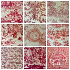 Stack of 8 red pieces of toile de jouy just listed on Www.ornamentoile.etsy.com