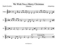 Partitura de We Wish You a Merry Christmas para Violín Villancico Popular de Navidad