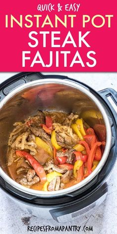 This recipe for Instant Pot Steak Fajitas is a quick and easy dump and start recipe! Made with only 6 simple ingredients, so it's perfect for busy weeknight dinners. Instant Pot Steak Fajitas ( Beef fajitas ) are full of amazing Tex- Mex flavor. Easy Instant Pot Mexican Recipe for the whole familyClick though to get this awesome recipe!! #instantpot #instantpotrecipes #pressurecooker #pressurecookerrecipes #instantpotsteakfajitas #pressurecookersteakfajitas #fajitas #steak #texmexrecipes… Chicken Fajita Rezept, Beef Fajita Recipe, Pressure Cooker Steak, Pressure Cooker Recipes, Healthy Weeknight Meals, Easy Meals, Weeknight Dinners, Fajitas Au Steak, Mexican Food Recipes