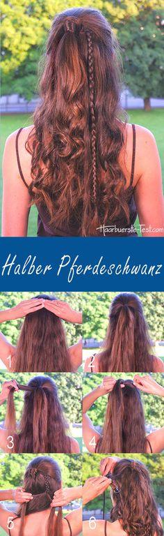half-open hairstyle with curls, half ponytail instructions – Hair Tutorials – … – Frisuren Halboffen Open Hairstyles, Everyday Hairstyles, Ponytail Tutorial, Half Ponytail, Strawberry Cheesecake, Cool Hair Color, Southern Style, Braids, Dreadlocks