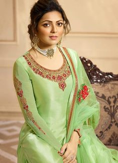 Light Green Multi Embroidered Indian Gharara/Churidar Suit is a steal the deal indian outfit showcasing glamorous style and elegance with its unique embroidered combination of zari, resham and ston. Lehenga Suit, Party Wear Lehenga, Churidar Suits, Salwar Kameez, Pista Green Colour, Milan Fashion Weeks, London Fashion, Clothing Studio, Function Dresses