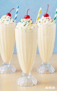 absolute best way to make a vanilla milkshake.The absolute best way to make a vanilla milkshake. Yummy Drinks, Delicious Desserts, Dessert Recipes, Yummy Food, Tasty, Kid Drinks, Drink Recipes, Beverages, Homemade Milkshake