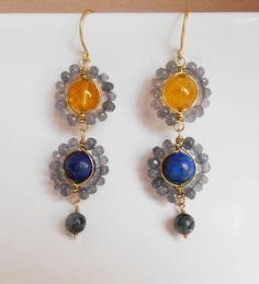 Sunburst gemstone beaded long duster earrings gray blue yellow dangle drop citrine agate lapis lazuli labradorite November birthstone gift