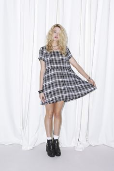 Things She Said Dress by Evil Twin in Plaid for Saint Bowery - Pretty Vacant Collection