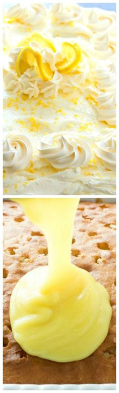 Lemon Burst Poke Cake ~ Oh-so-simple and delightful. It is slathered with lemon pudding then topped with a dreamy homemade whipped lemon cream cheese frosting. (pudding icing without cool whip) 13 Desserts, Lemon Desserts, Lemon Recipes, Sweet Recipes, Baking Recipes, Delicious Desserts, Cake Recipes, Dessert Recipes, Yummy Food