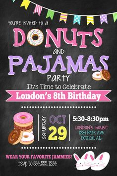 This invitation would be a great way to start your next donuts party!!!  I will personalize the card with your information, send it to you, you can print it or you can send it to be printed at your favorite photo developer!   Here is how it works:  1. Purchase this invitation and pay with paypal or Etsy.  2. Send me the following info to my email address sweetcottonpaperie@outlook.com  Your Email address (If you dont provide an email, Ill send it to the Etsy email address.) Name: Age: Date…