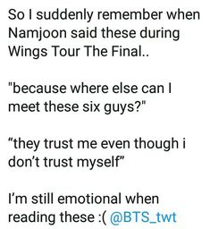 BTS is family . Believe in the others even though they don't love themselves