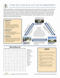 Mystery of History - Lesson 70: Checks and Balances System Worksheet