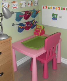 cozy little corner - I'm sure anyone can find a small corner like this for their child to get creative in