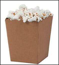 Brown Kraft popcorn boxes.  Love the sweet scalloped top. Jilly Bean Kids www.jillybeankids.com
