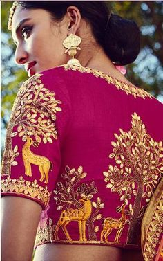 Beautiful Rajasthani thread work Majenta silk saree blouse for weddings and ceremonies The total cost includes price of the raw material,stitching charges and detailed handmade craftsmanship rates. -Can be Customized for Fancy Blouse Designs, Bridal Blouse Designs, Blouse Neck Designs, Blouse Styles, Blouse Patterns, Dress Designs, Audrey Bitoni, Churidar, Anarkali