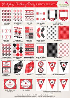 New in the shop: Ladybug party printables kit!