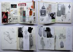 These stunning sketchbook pages contains a wealth of first-hand observation of bird cages, animal anatomy and other objects gathered while on travels. The pages contain wide tonal variety and use contrast to draw attention and create focal points. Filled with a mass of beautiful, intricate drawings and photographic recordings, the pages can be pored over for hours.