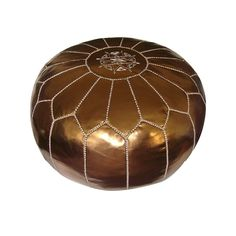 Moroccan Leather Pouf in Bronze