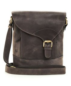 Look what I found on #zulily! Charcoal Leather Adonia Crossbody Bag #zulilyfinds
