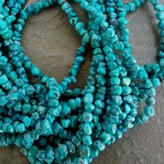"5 to 6mm irregular Chinese Turquoise nuggets, 8""strands, $5.99 per strand! Love, love, love!"