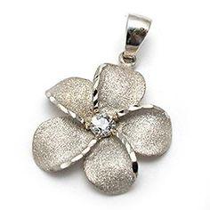 Hawaiian Jewelry Plumeria Flower Diamond Charm Pendant Solid 14K White Gold