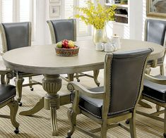 Furniture of america CM-GM367GY 7 pc melina collection gray finish wood contemporary style oval poker game/ dining table set Dining Room Table, A Table, Dining Chairs, Dining Rooms, Game Room Furniture, Take A Seat, Table Games, Wood Veneer, Contemporary Style
