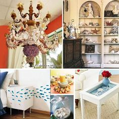 seashell decorated home.  Most of this is just too busy for me, but I do like the little fish on the nightstand and wall!! Mpp