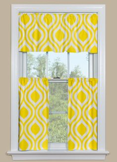 Kitchen Curtains With Retro Ogee Pattern in Yellow