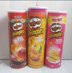Pringle's Smoked BBQ Peppers, Chilie Con Queso and Ham & Cheese flavored Chips Pringle Flavors, Fancy Foods, Potato Crisps, I Love Chocolate, Weird Food, Ham And Cheese, Oreos, Tortilla Chips, Junk Food