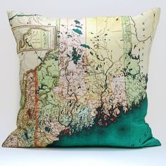 Vintage MAINE Map Pillow Made to Order 18x18 Cover by saltlabs, @etsy.com $49.00