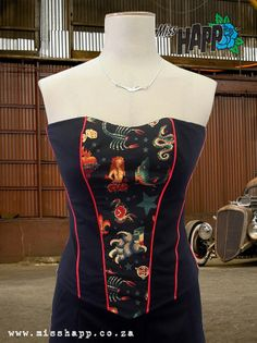 Rockabilly Tattoo Sailor Jerry Inspired Paneled Boned Corset on Etsy, $58.00